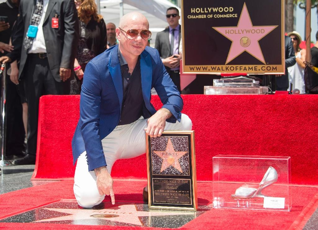 Rapper Pitbull is being honored with a star on the Hollywood Walk of Fame, on July 15, 2016