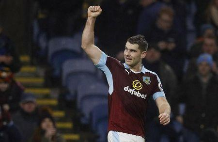 Burnley's Sam Vokes celebrates scoring their first goal