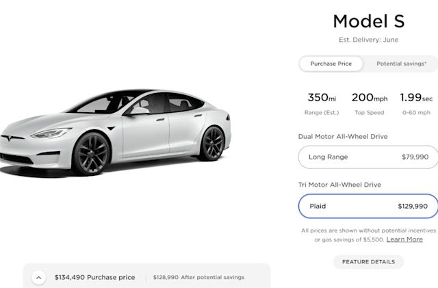 Tune in for Tesla's Model S Plaid delivery event at 11:15 PM ET