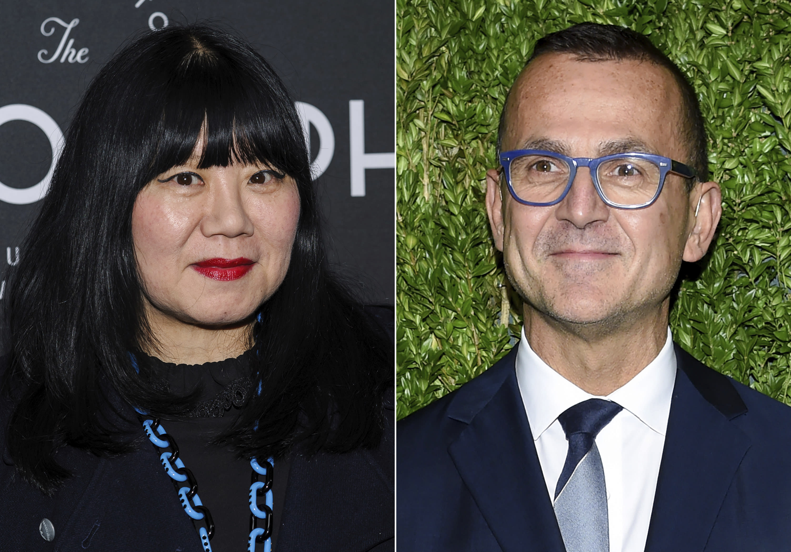 This combination photo shows Anna Sui at the third anniversary party for Metrograph in New York on March 21, 2019, left, and Council of Fashion Designers of America CEO Steven Kolb at the 15th annual CFDA / Vogue Fashion Fund event in New York on Nov. 5, 2018. The CFDA has been pushing designers to go digital this Fashion Week, which begins Sunday evening and lasts through Wednesday. Sui will be presenting a video of her new fall collection. (AP Photo)