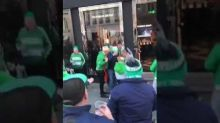 Creepy or funny? A mob of drunk Irish soccer fans cheers for Victoria's Secret patrons
