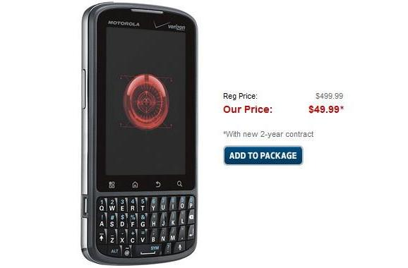 Droid Pro dropped to $50 on contract by Best Buy Mobile (update: $20 at Amazon)