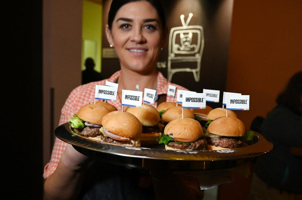 The Impossible Burger, being shown off at CES in Las Vegas in January 2019, was a pioneer in the alternative protein market (AFP Photo/Robyn Beck)