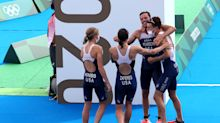 Team USA narrowly wins silver medal in Tokyo in first ever mixed relay triathlon