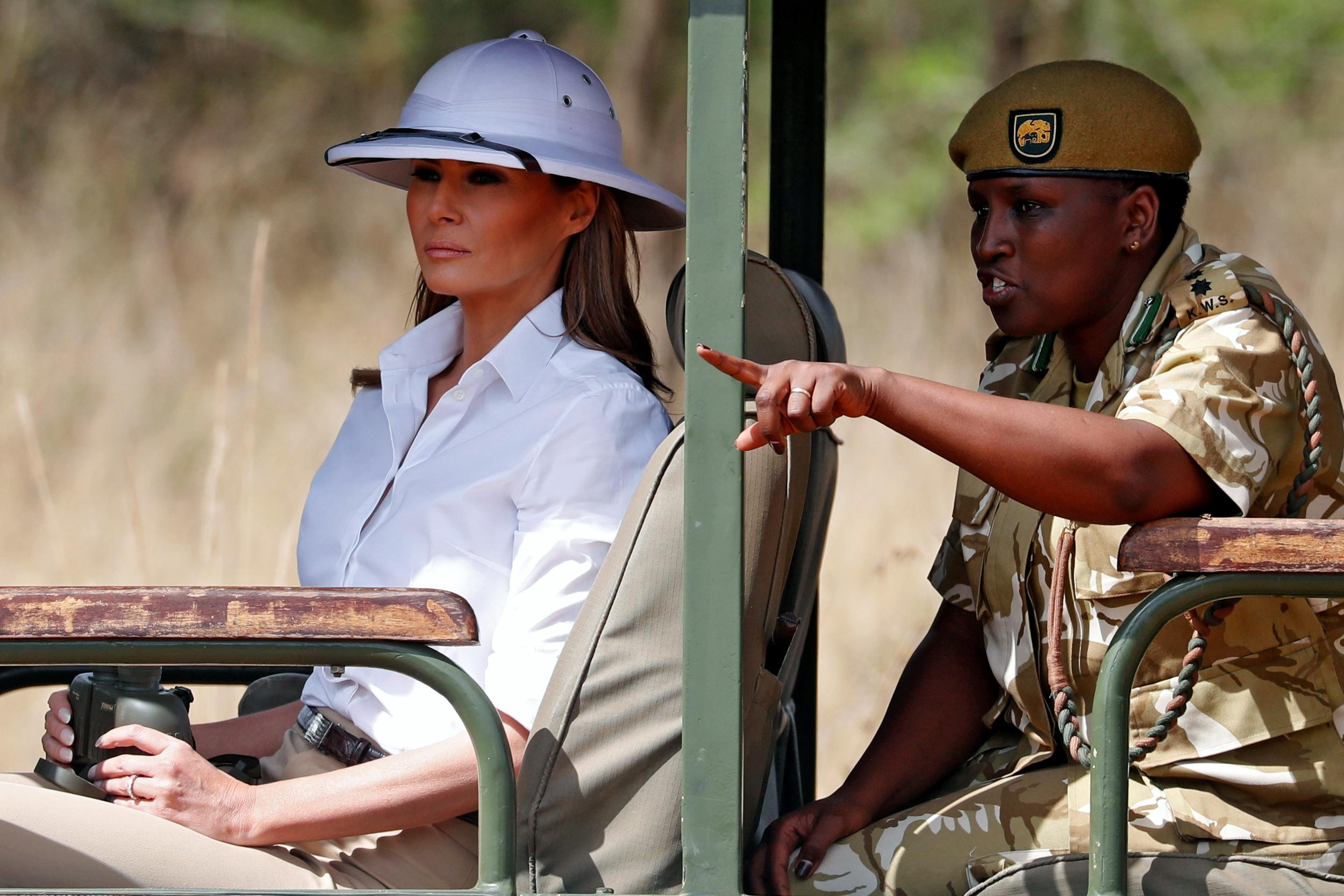 "<p>As part of her first solo international trip as first lady, Melania visited Nairobi National Park in a white pith helmet, which drew criticism for its colonial-era past. </p>  <p><strong>Read more <a href=""https://www.aol.com/article/lifestyle/2018/10/08/melania-trump-responds-to-helmet-flap-focus-on-what-i-do-not-what-i-wear/23554218/"">here</a>. </strong></p>"