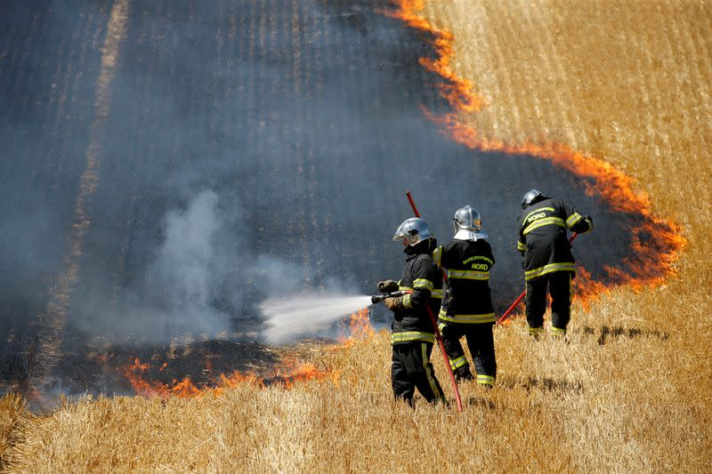 French firefighters extinguish a fire in a burning field of wheat in Aubencheul-au-Bac