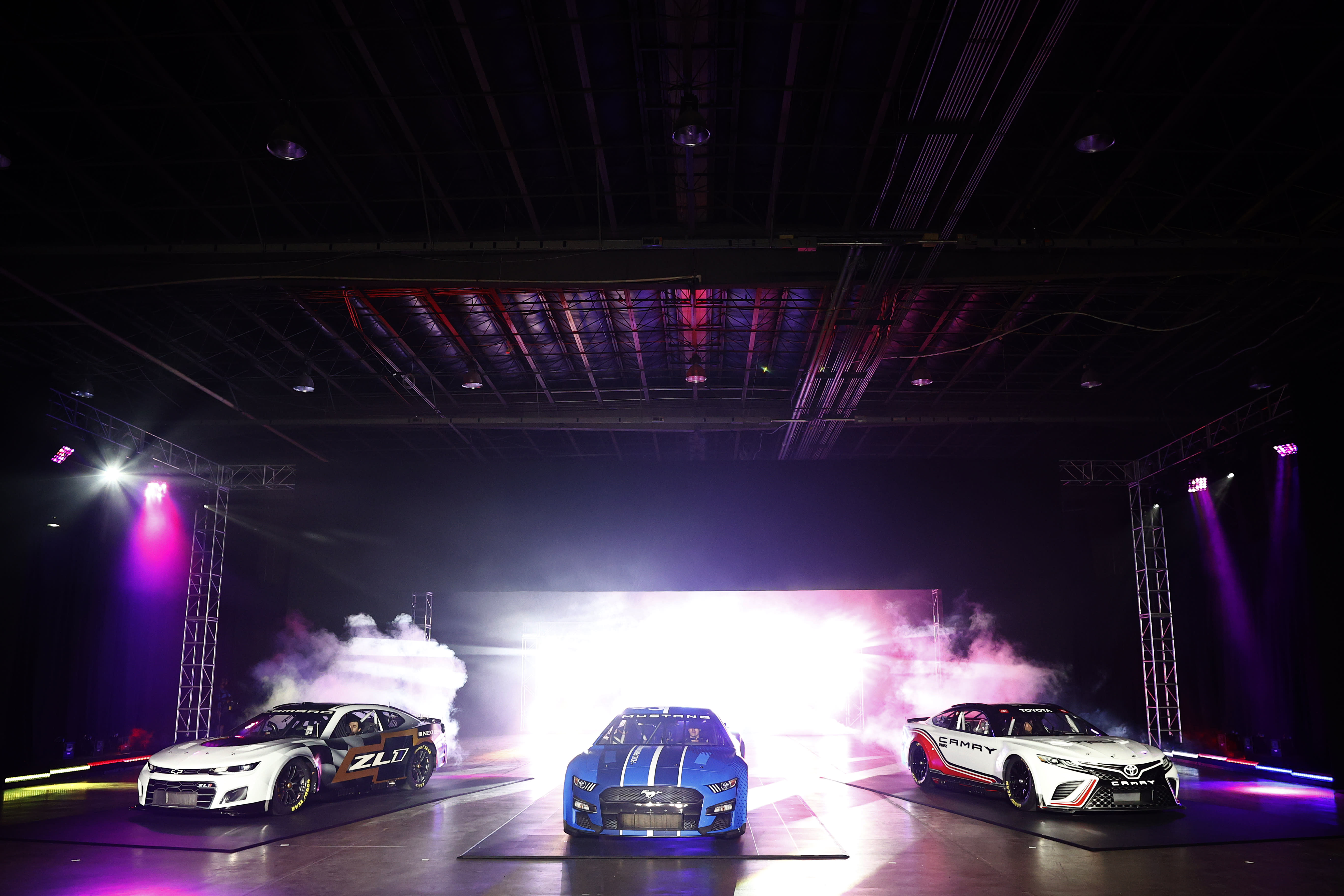 CHARLOTTE, NORTH CAROLINA - MAY 05: NASCAR unveils the seventh generation of the NASCAR Cup Series Chevrolet, Ford and Toyota cars during the NASCAR Next Gen Car Announcement on May 05, 2021 in Charlotte, North Carolina. (Photo by Jared C. Tilton/Getty Images)