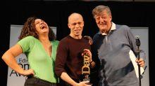 Stephen Fry presents Edinburgh Comedy Award prize to Jordan Brookes