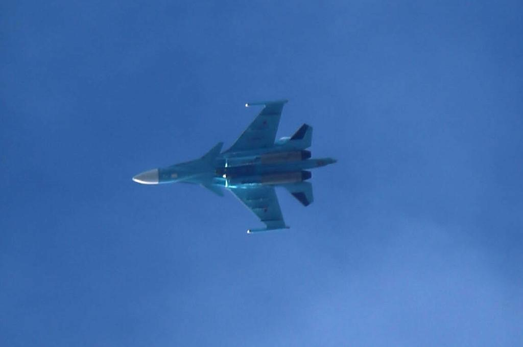 A Russian Su-34 fighter jet of the type that had a mid-air collision near the Strait of Tartary that separates the Sakhalin island from Russia's mainland on Friday