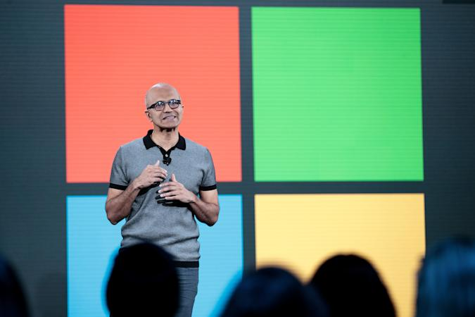 NEW YORK, NY - MAY 2: Satya Nadella, chief executive officer of Microsoft, speaks during a Microsoft launch event to introduce the new Microsoft Surface laptop and Windows 10 S operating system, May 2, 2017 in New York City. The Windows 10 S operating system is geared toward the education market and is Microsoft's answer to Google's Chrome OS. (Photo by Drew Angerer/Getty Images)