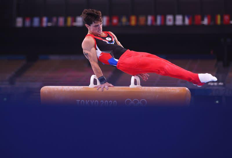Olympics-Gymnastics-Dalaloyan reaches all-around final despite recent Achilles injury