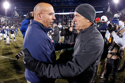James Franklin (L) and Penn State could make the Big Ten title game with an Ohio State win and a victory over Michigan State. (AP)