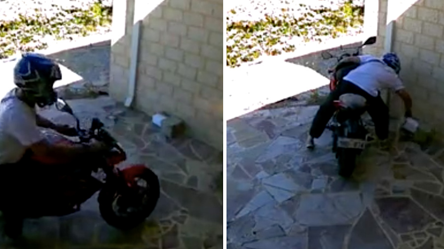 Mum has last laugh after man on motorbike tries to steal her parcel