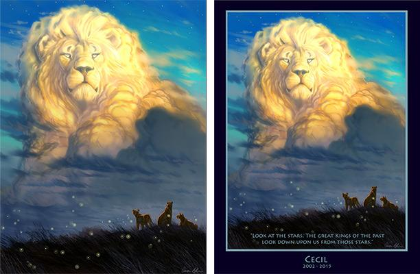 """<p>After his artwork went viral, the artist was so inundated by requests for prints that <a href=""""https://creatureartteacher.com/product-category/merch/conservation-store/"""" rel=""""nofollow noopener"""" target=""""_blank"""" data-ylk=""""slk:he created two, now available for $20 each"""" class=""""link rapid-noclick-resp"""">he created two, now available for $20 each</a>. 100% of the profits will be donated to WildCRU, the group that was originally studying Cecil and his pride. """"WOW! I've been absolutely BLOWN AWAY by the attention this image has received,"""" Blaise wrote on his blog. </p>"""