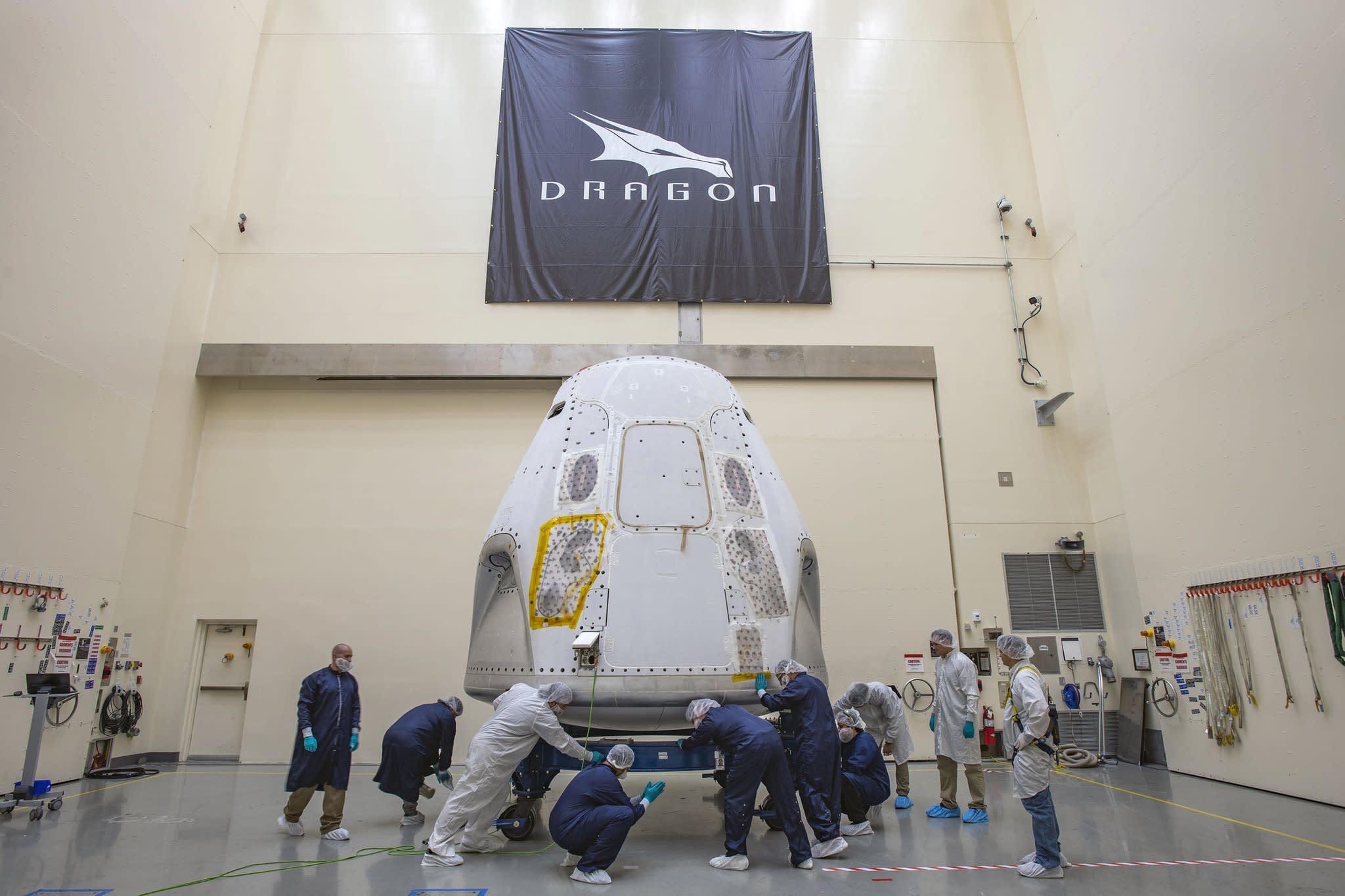 SpaceX Dragon in Florida Ahead of Human Spaceflight