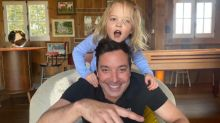 Jimmy Fallon's kids adorably interrupt as he does 'Tonight Show' from home