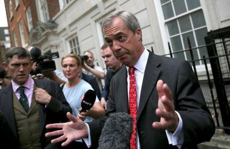 Leader of the United Kingdom Independence Party (UKIP) Nigel Farage poses during a media launch for an EU referendum poster in London