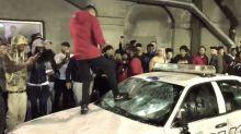 Raptors fans destroy police car celebrating Toronto's first title