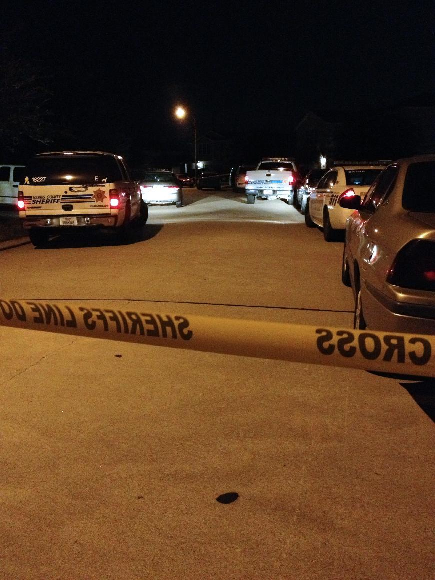 Police vehicles at the scene of a suburban Houston shooting early Sunday Nov. 10, 2013. Two people have been killed and at least 22 others hurt when gunfire rang out at the large house party in the Cypress-area of Houston, sending partygoers fleeing in panic, according to authorities. (AP Photo/Houston Chronicle, Anita Hassan)