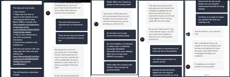 從對話截圖右下角可見,《闇影詩章》賽事主辦者早在今年4月2日前就已經跟Battlefy報告過這個漏洞的存在。