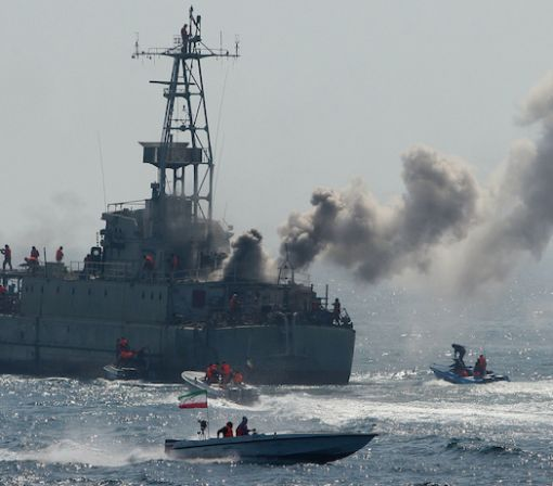 Watch: Iranian Attack-Boats Swarm U.S. Destroyer