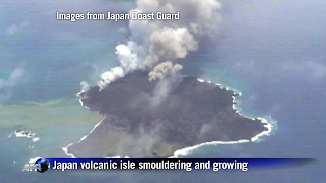Japan volcanic isle smouldering and growing