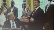 The bizarre moment Sylvester Stallone popped up at the Trump-Kim summit