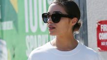 Olivia Culpo Rocks a Sell-Out Floral Print Shirt as the Shortest Ever Dress With These $1,270 Sandals