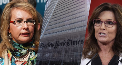 The Times has issued a correction to a column linking the shooting of Giffords (left) to Palin. (Photos: Spencer Platt/Getty Images, Don Emmert/AFP/Getty Images, Alex Wong/Getty Images)