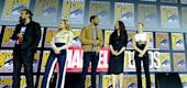 "From left: David Harbour, Florence Pugh, O-T Fagbenle, Rachel Weisz and Scarlett Johansson of Marvel Studios' ""Black Widow"" at San Diego Comic-Con in 2019. (Getty Images)"