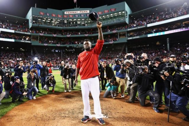 David Ortiz waves goodbye to the fans at Fenway Park. (Getty Images/Maddie Meyer)