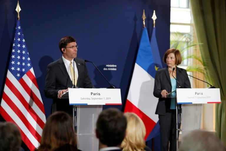 US Secretary of Defense Mark Esper, left, and his French counterpart Florence Parly did not indicate any progress on de-escalating tensions with Iran after talks in Paris on Saturday