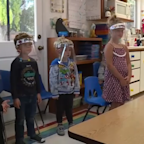 Central CA day care provides face shields for kids