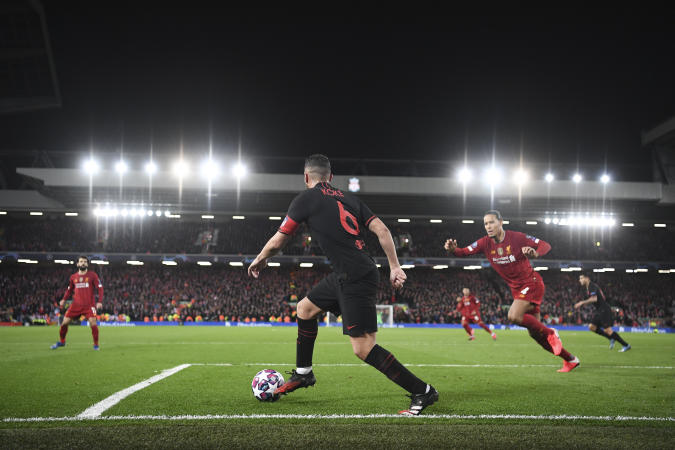 LIVERPOOL, ENGLAND - MARCH 11: Koke of Atletico in action during the UEFA Champions League round of 16 second leg match between Liverpool FC and Atletico Madrid at Anfield on March 11, 2020 in Liverpool, United Kingdom. (Photo by Michael Regan - UEFA/UEFA via Getty Images)