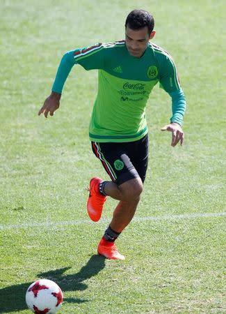 El defensa Rafael Márquez en un entrenamiento con la selección mexicana en la localidad de Cuernavaca
