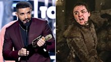 Drake shouts out Arya Stark during Billboard Music Awards win, possibly cursing her to death