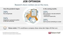 Robert Half Research Points To Strong Job Optimism Among U.S. Workers
