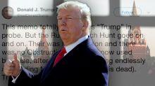 Trump calls disclosures in GOP memo 'an American disgrace'