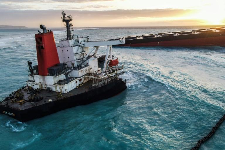 The MV Wakashio ran aground on a coral reef on July 25 and began oozing oil more than a week later before splitting in two at the weekend