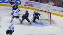 Pavelski backhands one on the PP by Varlamov