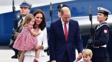 Kate Middleton Arrives in Poland With William, George, and Charlotte in Color-Coordinated Looks