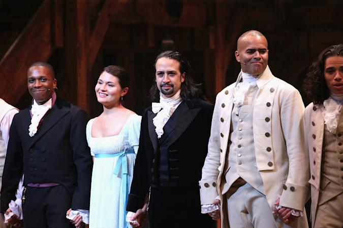"""NEW YORK, NY - AUGUST 06: (L-R) Leslie Odom; Jr., Phillipa Soo, Lin-Manuel Miranda and Christopher Jackson attend """"Hamilton"""" Broadway Opening Night at Richard Rodgers Theatre on August 6, 2015 in New York City.  (Photo by Neilson Barnard/Getty Images)"""