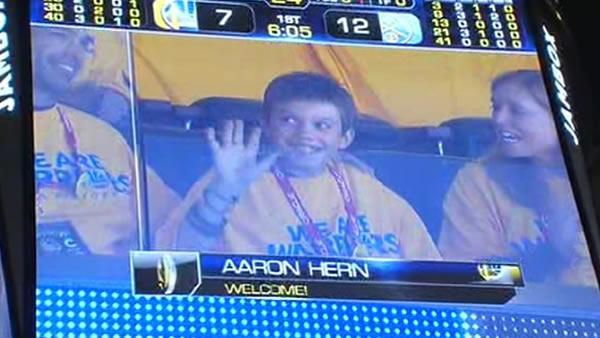 Crowd gives Aaron Hern standing ovation