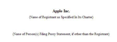 Apple releases proxy statement in SEC filing