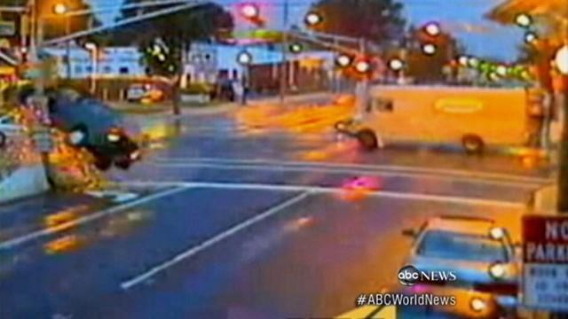 Accident Sends Car Airborne: Caught on Tape