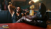 Keanu Reeves pictured as rock and roll renegade in Cyberpunk 2077 game