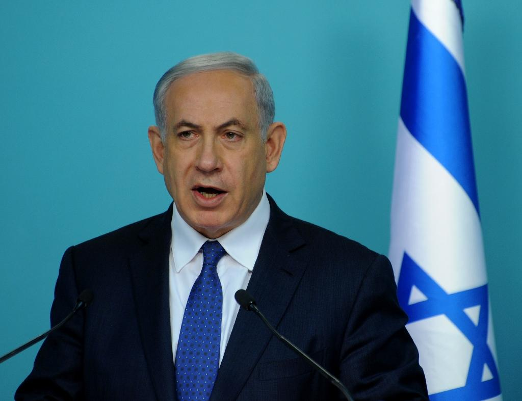 Israeli Prime Minister Benjamin Netanyahu makes a statement to the press about negotiations with Iran at his office in Jerusalem on April 1, 2015