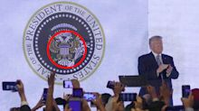 The subtle jibes hiding in viral photo of Trump addressing crowd