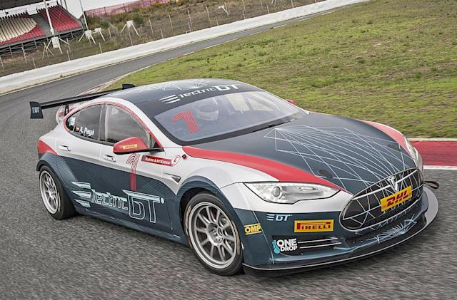Electric GT's first race-spec Tesla Model S hits the track