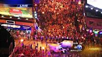 Hawks fans remain peaceful as crowds spill onto streets